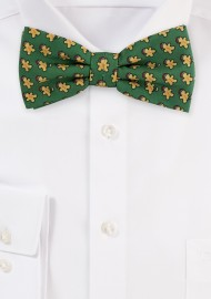 Dark Green Bow Tie with Gingerbread Men