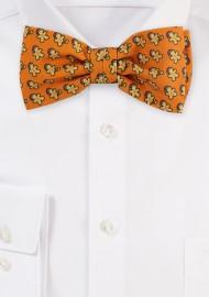 Autumn Orange Bow Tie with Gingerbread Men