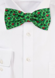 Bow Tie with Elf Design in Green