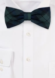 Hunter Green Plaid Bow Tie