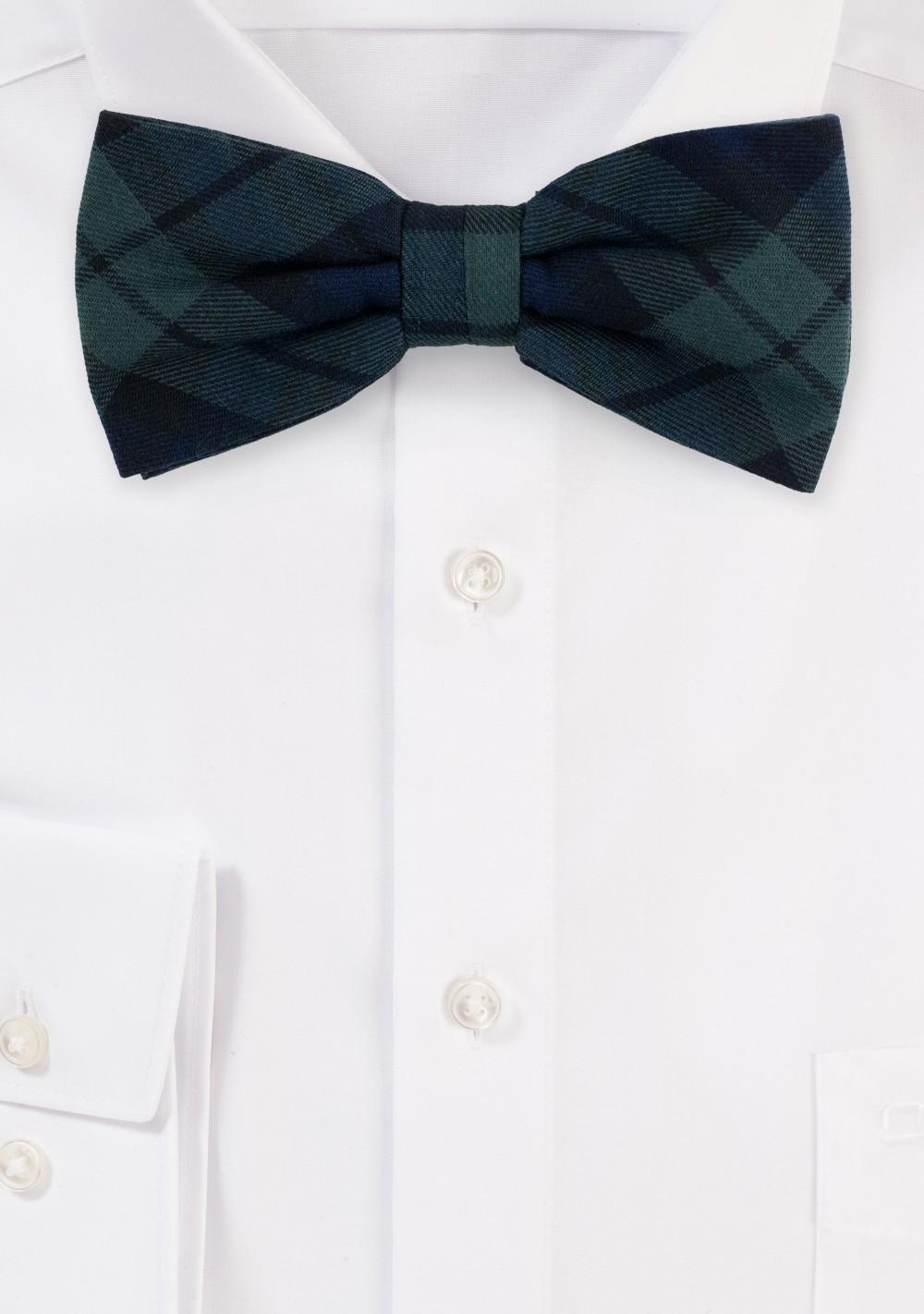 Hunter Green Plaid Bow Tie