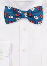 Pine Green Bow Tie with HoHoHo Holiday Print