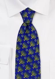 Blue and Gold Menorah Print Necktie