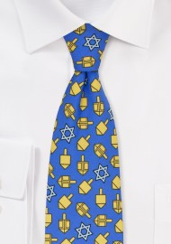 Dreidel Print Tie in Blue and Gold