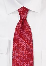 Norwegian Christmas Print Necktie