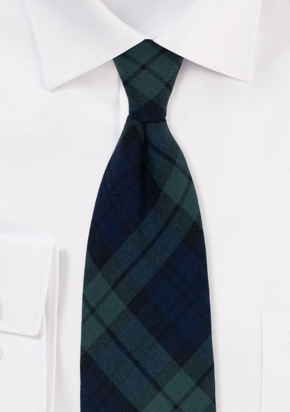 Christmas Plaid Necktie in Hunter Green and Navy