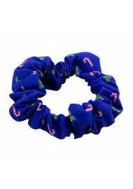 Blue Christmas Print Hair Scrunchie