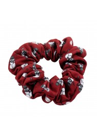 Crimson Red Hair Scrunchie with Snowmen