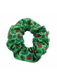 Dark Green Scrunchie with Elf Print