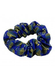 Hanukkah Print Scrunchie in Blue and Gold