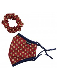 Fun Christmas Print Mask and Scrunchie Set for Kids