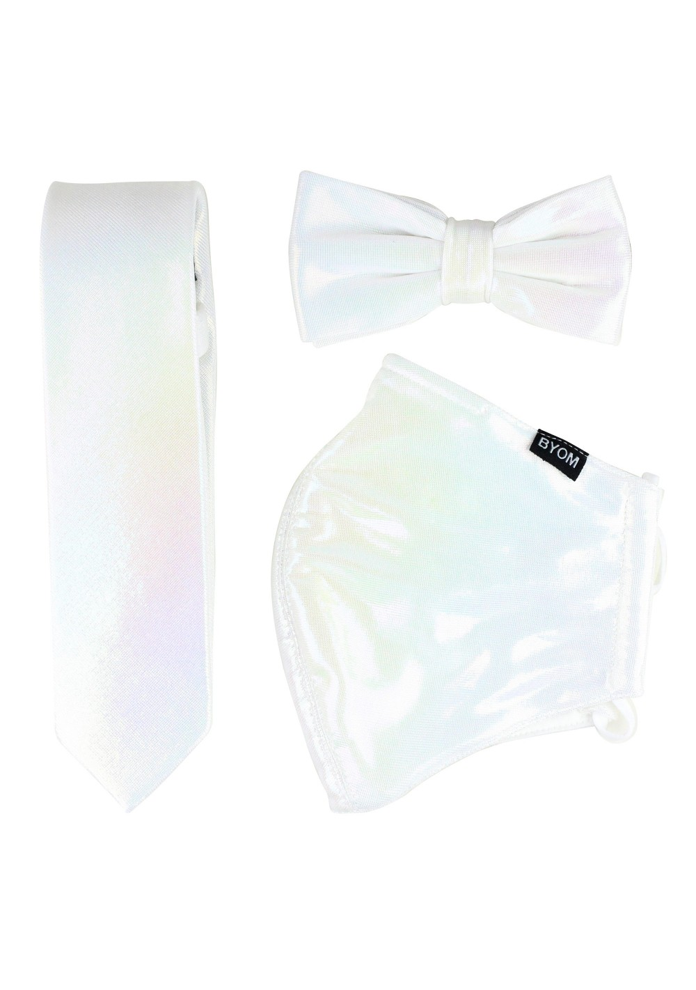 White Glitter Mask and Tie Set
