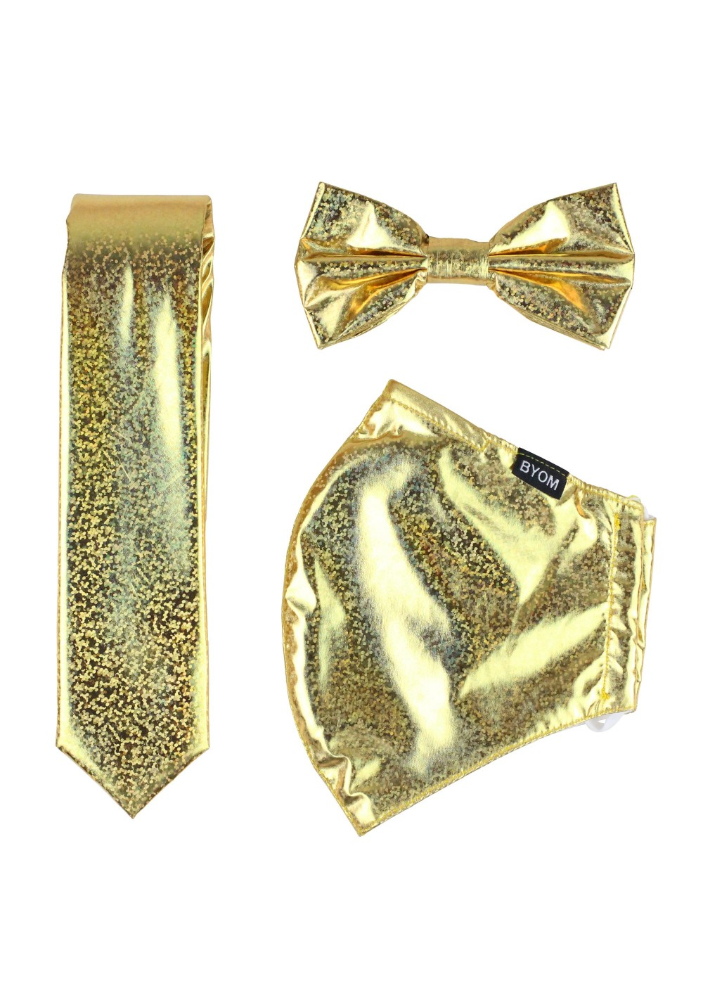 Festive Glitter Tie and Mask Set in Gold