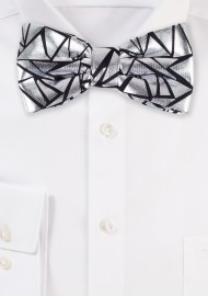 Geo Print Bow Tie in Metallic Silver and Black