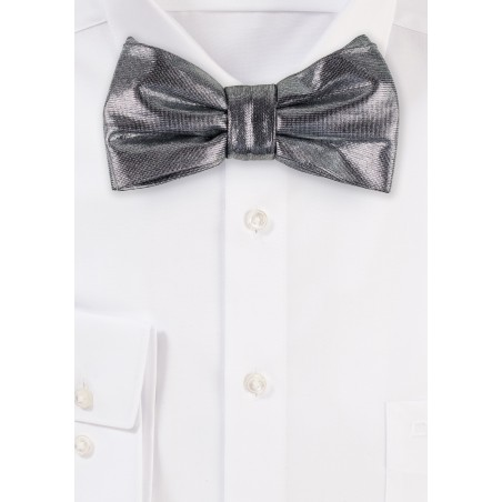 Sparkly Silver Bow Tie
