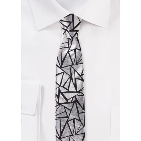 Geo Print Tie in Metallic Silver and Black