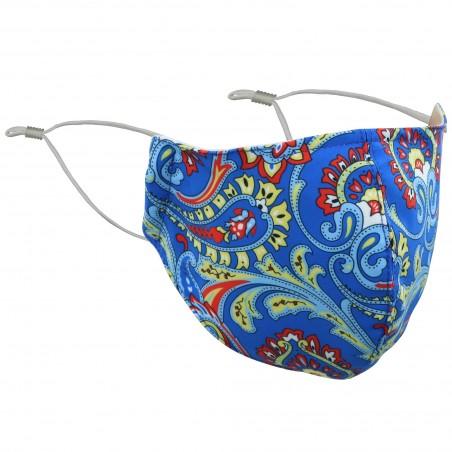 Bright Blue Paisley Print Mask