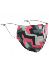 Abstract Print Mask in Pink and Gray