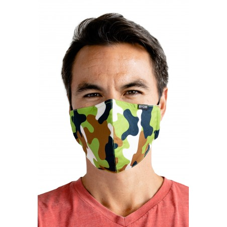 Camouflage Green Brown Face Mask Styled