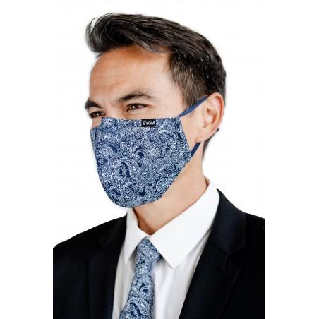Navy Bandana Style Paisley Mask with Filter Styled