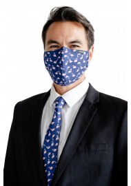 Flamingo Print Skinny Tie + Face Mask Set Styled