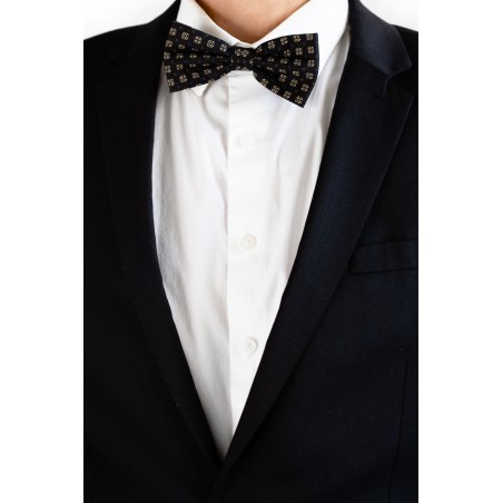 Black and Gold Geometric Print Bow Tie Styled