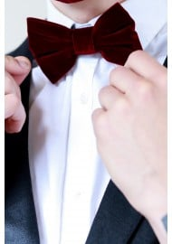 Large Butterfly Velvet Bow Tie in Burgundy Red Styled
