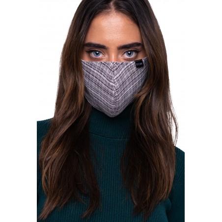 Vintage Tweed Check Mask in Grays Styled