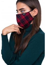Punk Rock Tartan Face Mask in Black and Red Styled