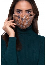 Autumn Check Mask in Brown and Burnt Orange Styled