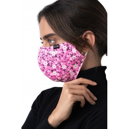 pink floral mask in cotton model female
