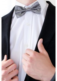 NYE Designer Bow Tie in Metallic Silver and Black Styled
