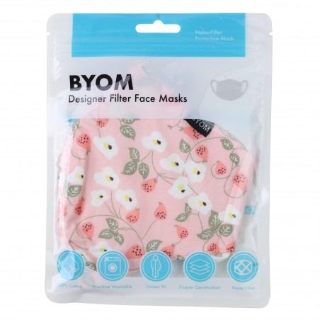 Spring Floral Filter Mask in Peach Pink in Bag