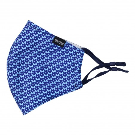 Floral Print Mask in Navy and Sky Blue