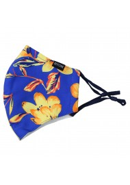Royal Blue Mask with Golden Tropical Flowers
