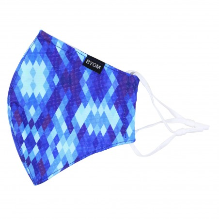 Aztec Argyle Print Mask in Blues