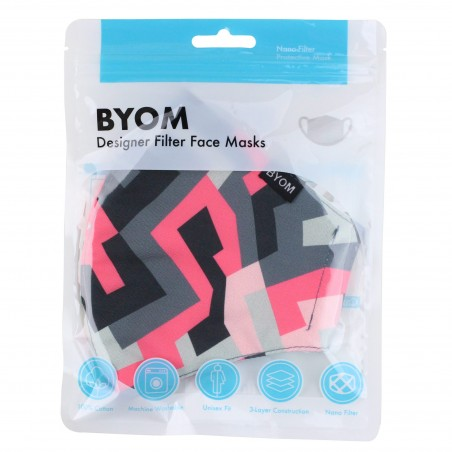 Abstract Print Mask in Pink and Gray in Mask Bag