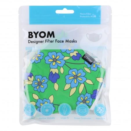 Kelly Green Floral Mask in Mask Bag