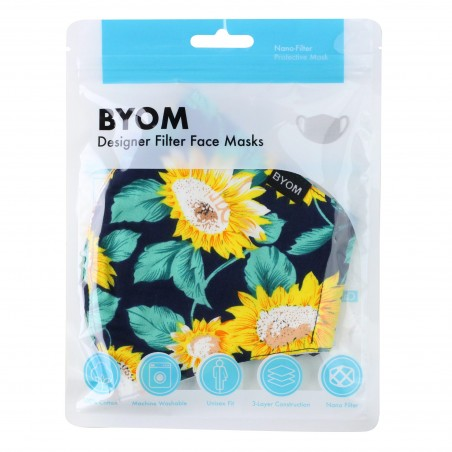 Sunflower Print Mask in Mask Bag