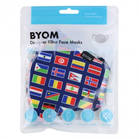 Flags of the World Mask in Mask Bag