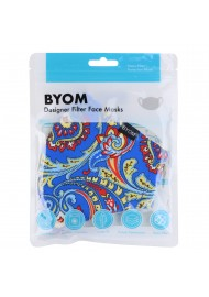 Bright Blue Paisley Print Mask in Mask Bag