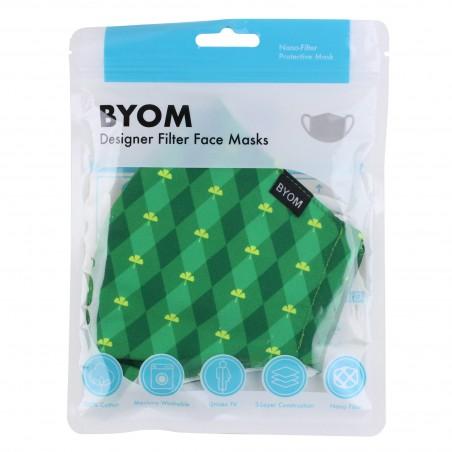Green Argyle Print Mask in Mask Bag
