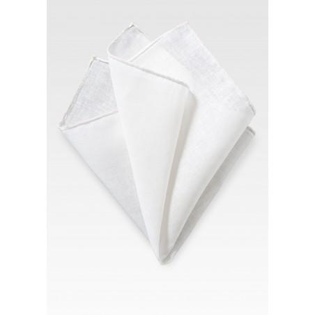 Solid White Linen Hanky
