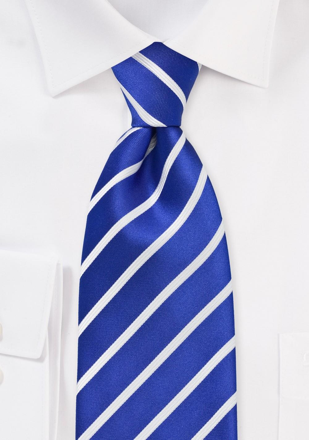 Marine Blue and White Tie