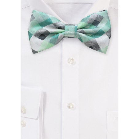 Patchwork Bow Tie in Mint and Silver