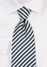 Narrow Striped Kids Tie in Navy and White