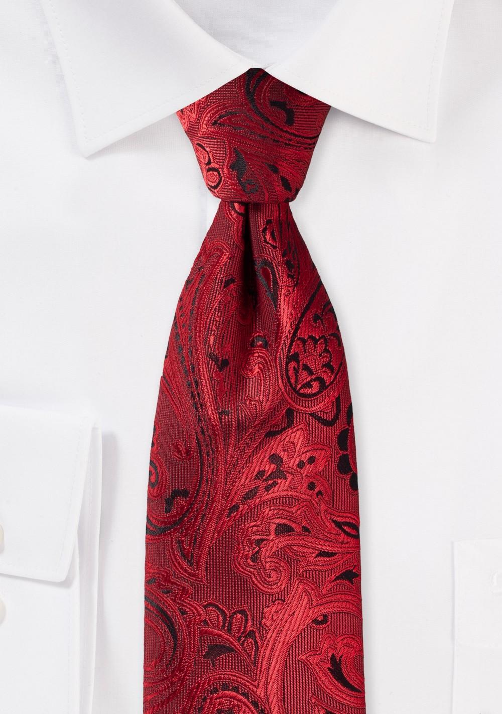 Elegant Paisley Tie in Ruby Red