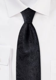 Woven Paisley Tie in Solid Black