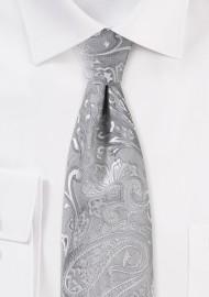 Elegant XL Paisley Tie in Silver