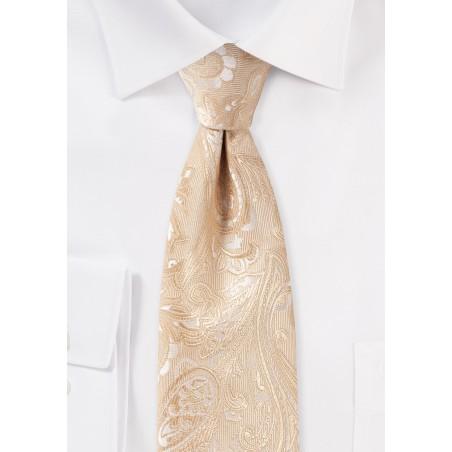 Kids Paisley Tie in Golden Champagne